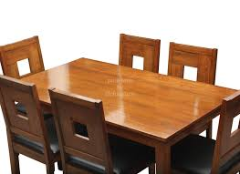 Teak Wood Dining Chairs Stylish Teak Dining With Art Leather Chairs In 6 Seater Set