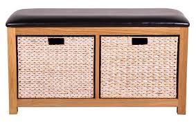Hallway Storage Bench 2 Seat Bench 2 Basket Storage Bench Foxhunter Wooden Storage Bench Seat