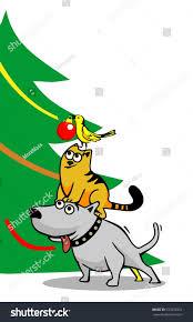dog cat bird decorating christmas tree stock vector 533732551