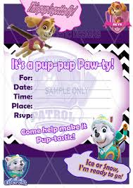 girly paw patrol invitations for your little rescuer dreaming of a