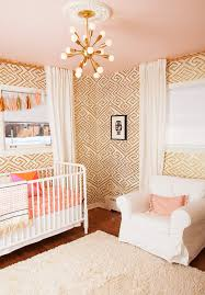 Gold And Coral Bedroom Nursery Lighting Ideas Nursery Transitional With Baby Nursery