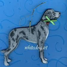 custom uncropped blue merle great dane ornament