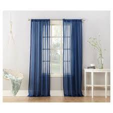 avril crushed sheer curtain panel indigo blue 50