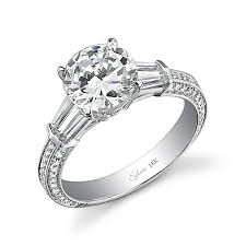 engagement rings with baguettes bold center side tapered baguette engagement ring
