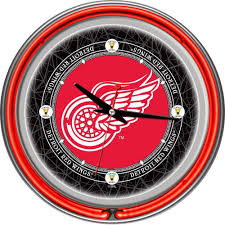 unique clock 14 in vintage detroit redwings nhl neon wall clock multi products