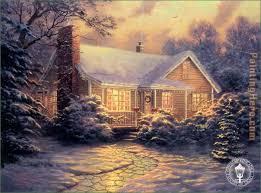 kinkade cottage painting anysize 50
