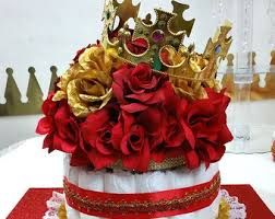 Royal Crown Centerpieces by Diaper Cake Centerpiece With Crown For Little Prince Baby