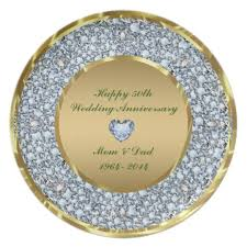 50th wedding anniversary plate diamonds gold 50th wedding anniversary plate zazzle