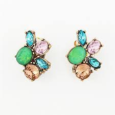 on earrings jeweled fresco clip on earrings multi color glass