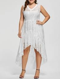 lace high low plus size party dress in white 2xl sammydress com