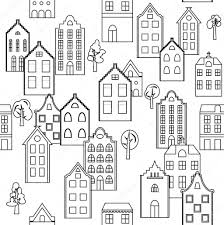 traditional european houses vector seamless pattern background with european houses in black