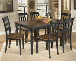 two tone dining table set owingsville rectangular dining room table 6 side chairs d580 02