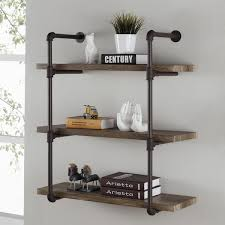 on the shelf accessories danya b brown iron rustic industrial pipe 3 tier wall shelf free
