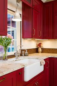 Farmhouse Kitchen Designs Photos by Best 20 Red Kitchen Cabinets Ideas On Pinterest Red Cabinets