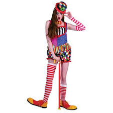 ladies clown halloween costumes rainbow clown female costume with hat and bow tie