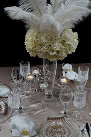 white ostrich feather centerpieces roaring 20s great gatsby inspired feather wedding centerpiece