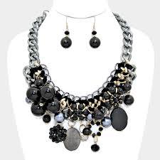 black necklace sets images Chunky flower necklace set focused fashions jpg