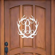 antler wood monogram wooden door decor antler initial antler