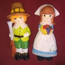 thanksgiving pilgrim statues vintage napco and woman ceramic pilgrim thanksgiving figurines