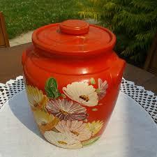 best cookie jar vintage ransburg pottery painted orange