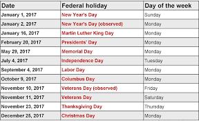 2017 federal calendar webelations