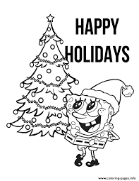 spongebob with christmas tree coloring pages printable