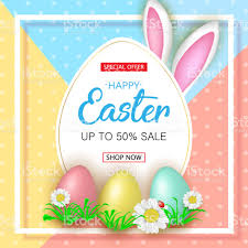 easter egg sale easter sale banner with flowers easter eggs and rabbit ear