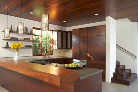 Wall Mounted Breakfast Bar Modern U Shaped Kitchen Design Ideas Come With Varnished Wood