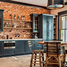 how to hang kitchen cabinets on brick wall 75 beautiful home bar with brick backsplash pictures ideas