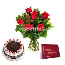 buy birthday flowers with cake greeting card online best prices