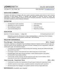 Sample Template For Resume Retail Manager Resume Example Department Store