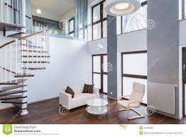 stairs in living room in contemporary mansion stock photo image
