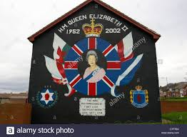 uda uff mural for queen elizabeths 50th anniversary loyalist wall stock photo uda uff mural for queen elizabeths 50th anniversary loyalist wall mural painting north belfast northern ireland