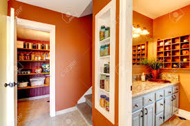 bathroom built in shelves small rust and white hallway with designed built in shelves