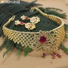 stone choker necklace images Cz ruby stone choker necklace online jpg