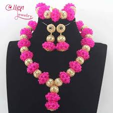 chunky crystal necklace sets images Fuchsia pink wedding beads jewelry set chunky bridal crystal jpg