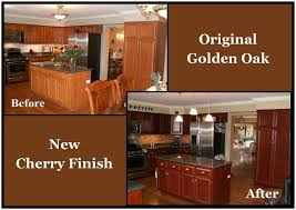 finished oak kitchen cabinets kitchen cabinet refacing oak kitchen cabinet to new cherry finish