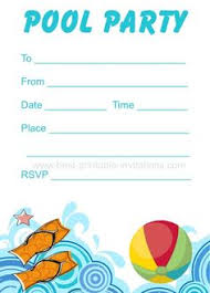 pool invitation pool printable invite for
