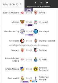 jadwal siaran langsung tv pertandingan liga champions uefa