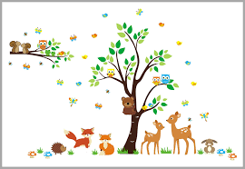 Baby Nursery Tree Wall Decals by Sweet Deer And Fox Woodland Decal Nursery Room Decor Large