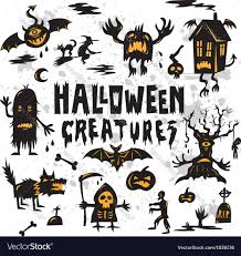 halloween creatures set royalty free vector image