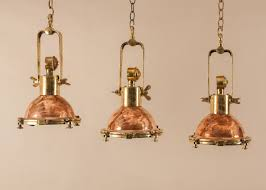 Nautical Pendant Light Set Of Three Petite Copper And Brass Nautical Ship U0027s Pendant