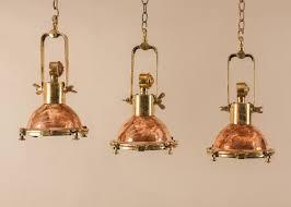 Nautical Pendant Light Set Of Three Petite Copper And Brass Nautical Ship U0027s Pendant