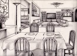 Kitchen Drawings One Point Perspective Living Room Drawing Inspiration 61833