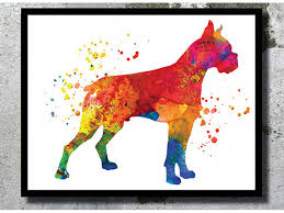 dog watercolor print dog art print boxer poster home decor