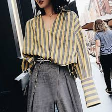black and white striped blouse velyn v collar striped blouse yellow and gray in clothing