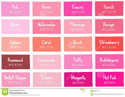 pink color shades pink tone color shade background with code and name stock vector