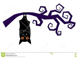 cartoon halloween bat hanging on tree branch vector stock vector