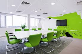 Simple Reception Room Interior Design by Colorful Office Interior Glass Design With Large Partitions