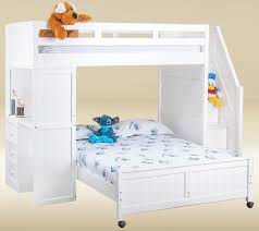 Post White Twin Size Stairway Study Loft Bed - Full loft bunk beds